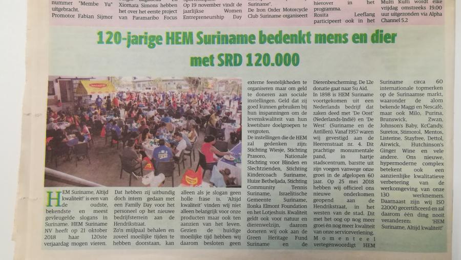 HEM Suriname doneert SRD 120.000,-