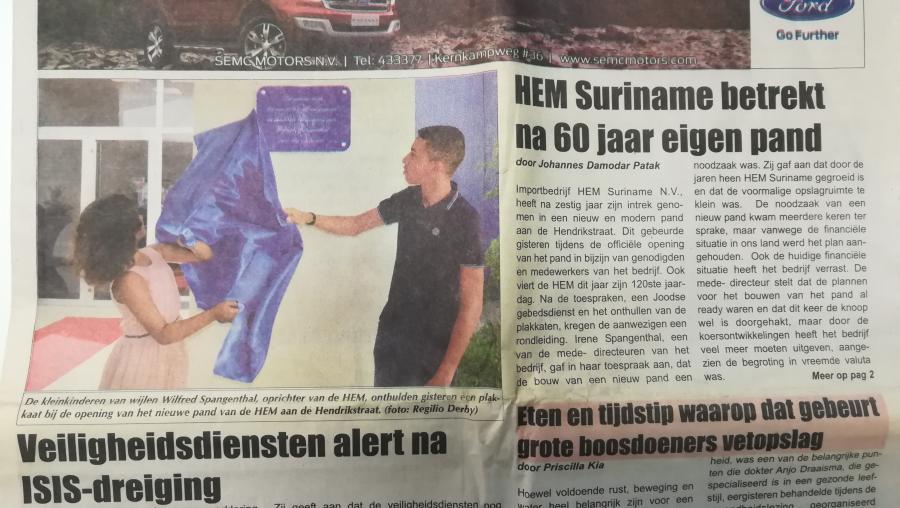 Nieuw pand HEM Suriname officieel geopend