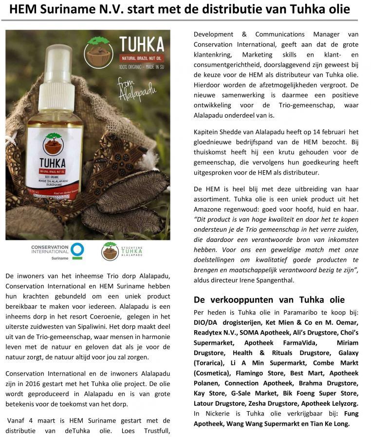 HEM Suriname N.V. start met de distributie van Tuhka olie